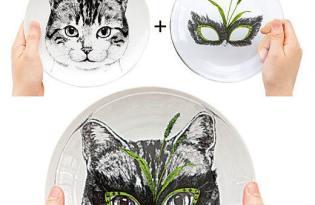 [餐具設計]雙層假面動物餐盤