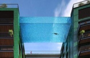 [建築設計]英國出品「透明空橋游泳池」