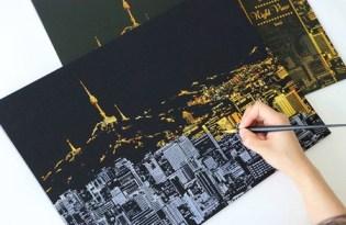 [文創設計]刮刮樂城市夜景畫作