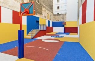 [建築設計]法國出品「回收橡膠環保籃球場」
