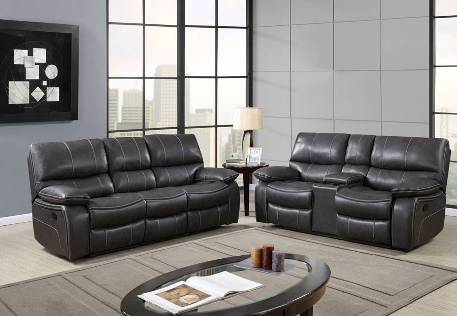 leather living rooms modern wall lights for room the furniture warehouse sets inventory global agnes grey reclining sofa and console loveseat in gel