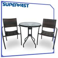 Outdoor Steel Furniture 3PC Rattan Patio Bistro Set Table ...