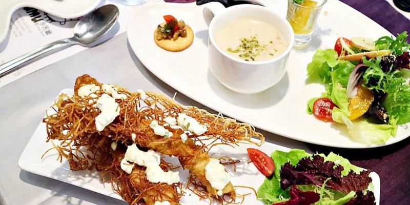 (台南。中西區美食)再訪{Mumu小巴黎}:美味煙花女鮮蝦麵,辣得夠開胃。旋風洋芋炸魚柳,巨大魚柳條,酥脆有聲。美饌+美酒,帶給你異國浪漫的放鬆時光。