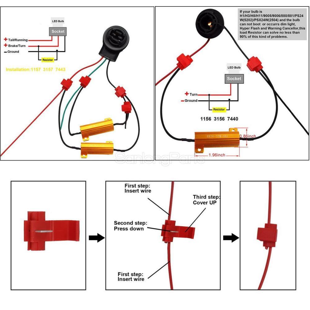 medium resolution of 2pcs 1157 1034 white 6000k amber front turn signal light bulb load resistors
