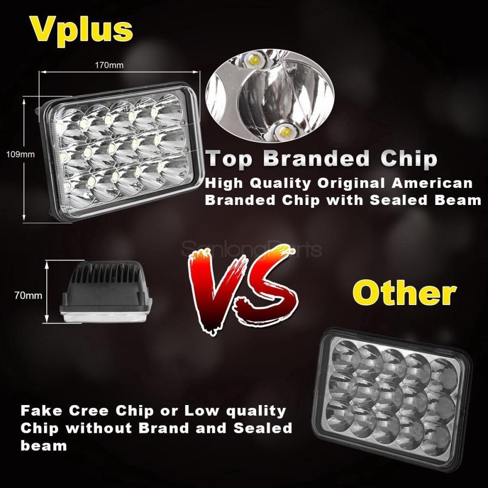 medium resolution of 4 x6 led cree light bulb crystal clear sealed beam headlamp headlight 45w pcs 7 7 of 9