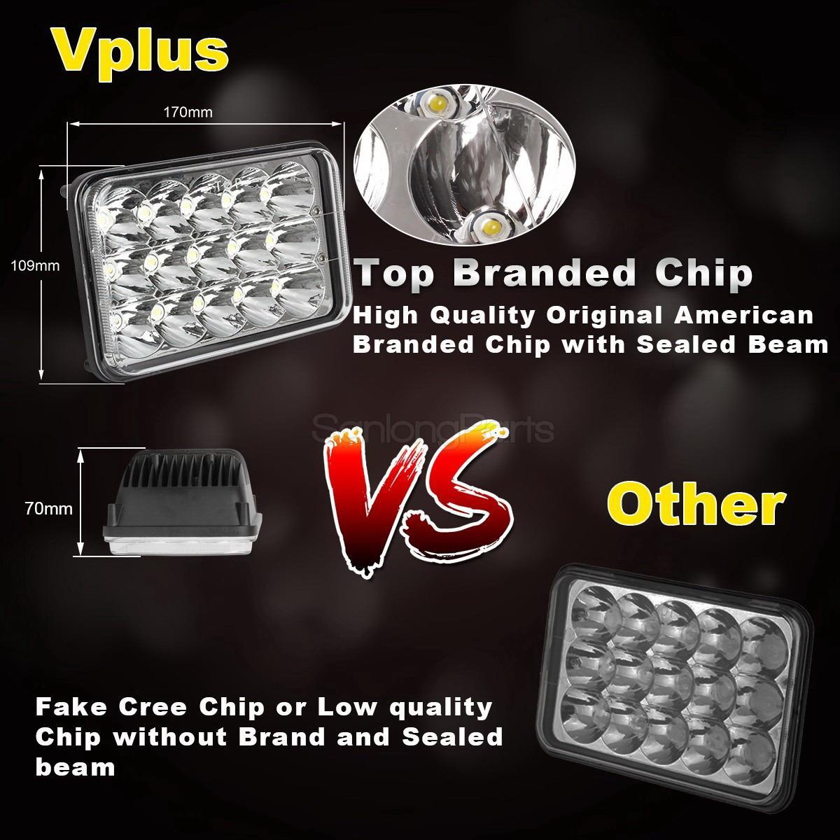 hight resolution of 4 x6 led cree light bulb crystal clear sealed beam headlamp headlight 45w pcs 7 7 of 9