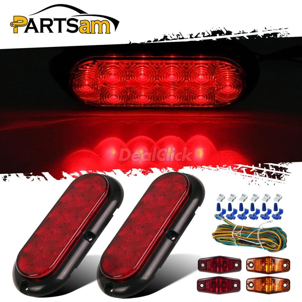 medium resolution of details about 2xred stop turn tail lights 4xred amber side marker lamps w wire harness utility