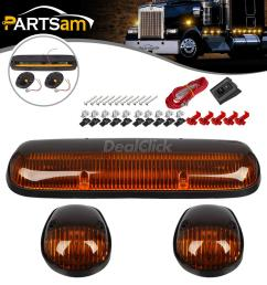 details about 3x amber cab clearance marker light lens base housing w wire for 02 07 chevy gmc [ 1200 x 1200 Pixel ]