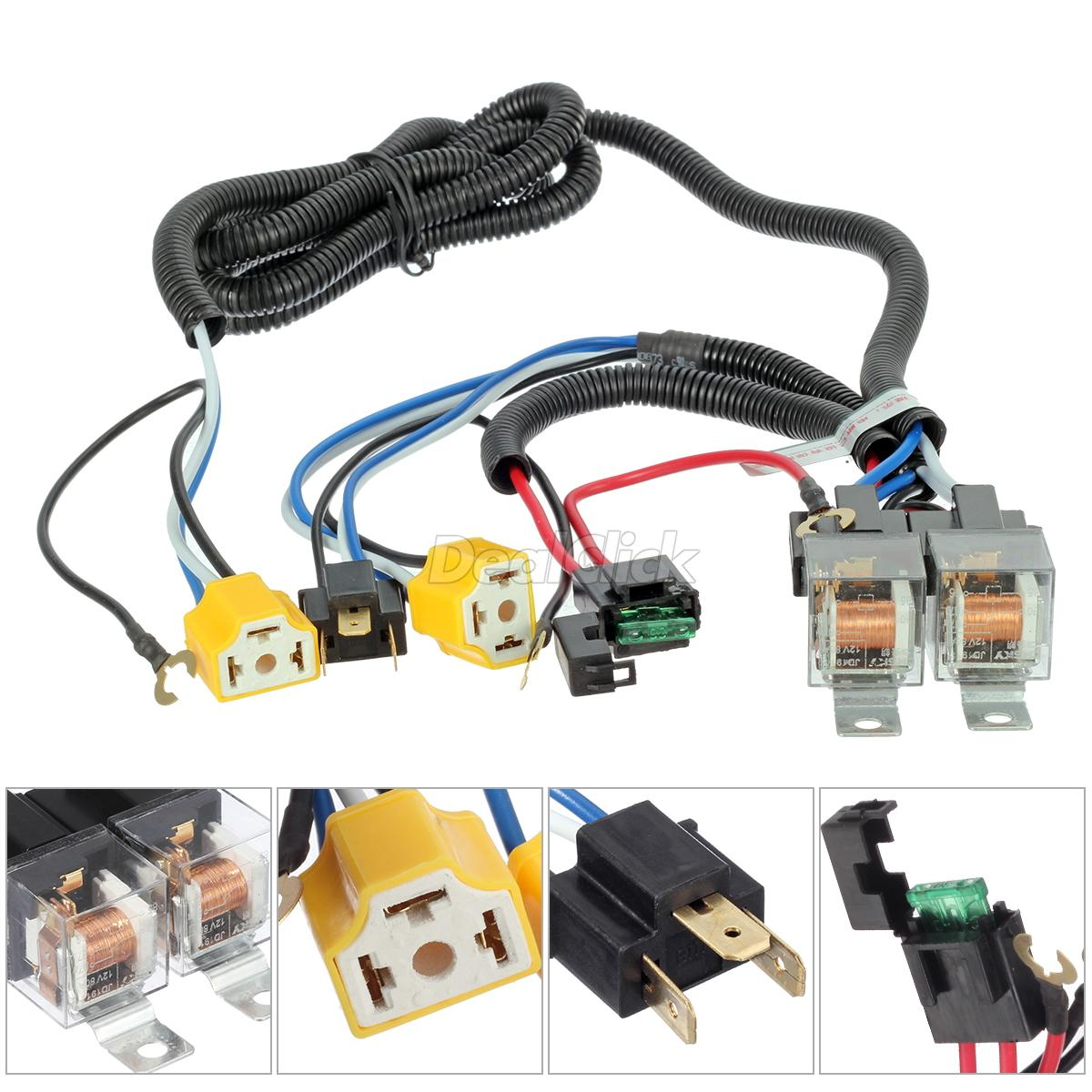 hight resolution of details about ceramic h4 headlight headlamp h4 light bulb relay wiring harness socket plug set