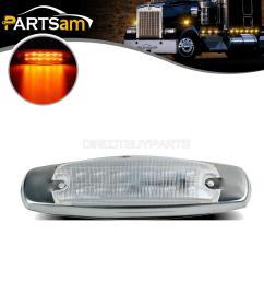 amber led cab side marker lights for peterbilt kenworth truck trailer clear lens [ 1200 x 1200 Pixel ]