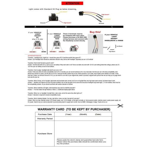 small resolution of h4 9003 hb2 wiring harness fit for 4 x6 7 x6 5
