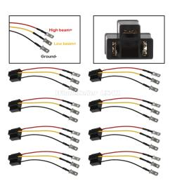 details about qty8 h4 to 3 pin adapter for sealed beam 5x7 7x6 4x6 headlights harness wire [ 1200 x 1200 Pixel ]