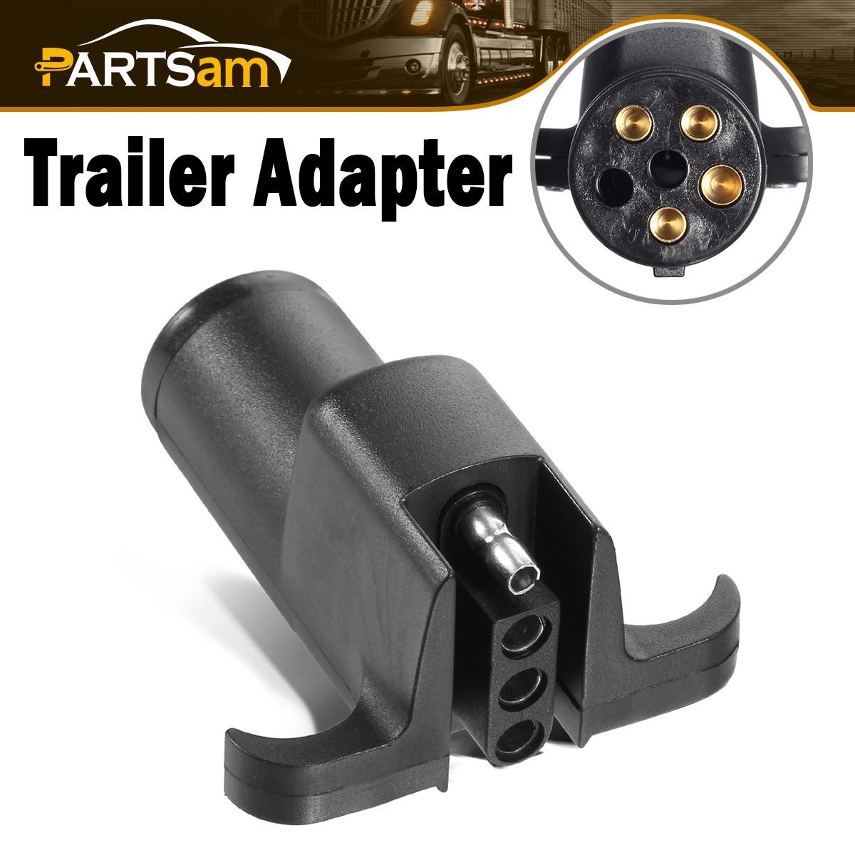 hight resolution of details about rv boat trailer light connector adapter 6 way round pin to 4 way flat plug black