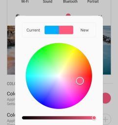 selecting color 2 will yield the same option as color 1 but this time you get to set your desired color for the icons within quick settings panel that  [ 1440 x 2960 Pixel ]
