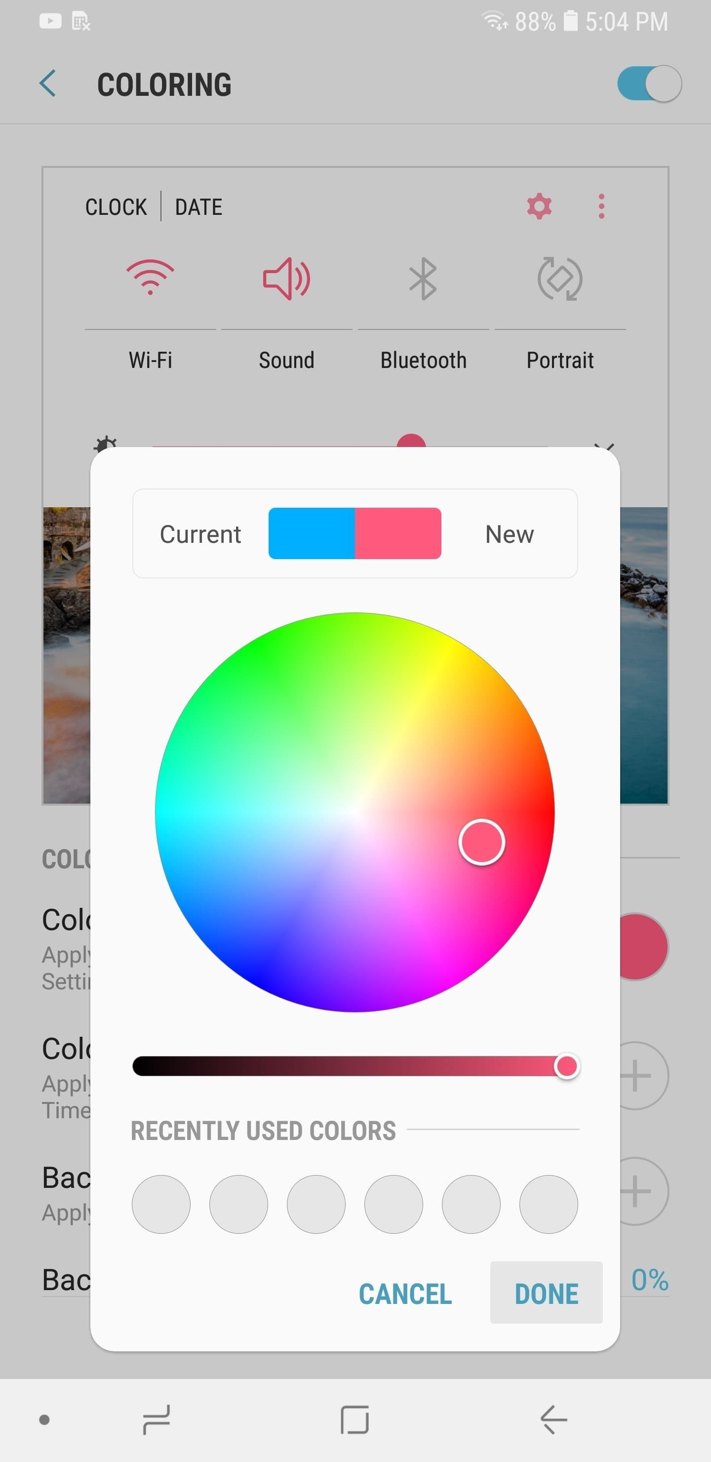 hight resolution of selecting color 2 will yield the same option as color 1 but this time you get to set your desired color for the icons within quick settings panel that