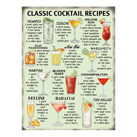 Classic Cocktails Recipe Extra Large Sign 35336 Signs Plaques Humour Gainsborough Giftware Ltd