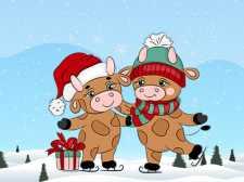 可爱的圣诞节公牛差异