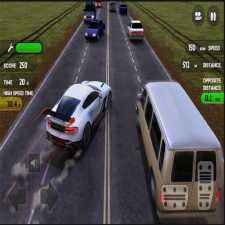 Verkehrszone Autorennfahrer