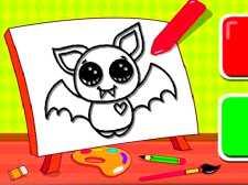 简单的孩子着色蝙蝠