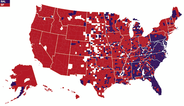 Map - Super Bowl Allegiance: 49ers vs. Ravens Fans By US County