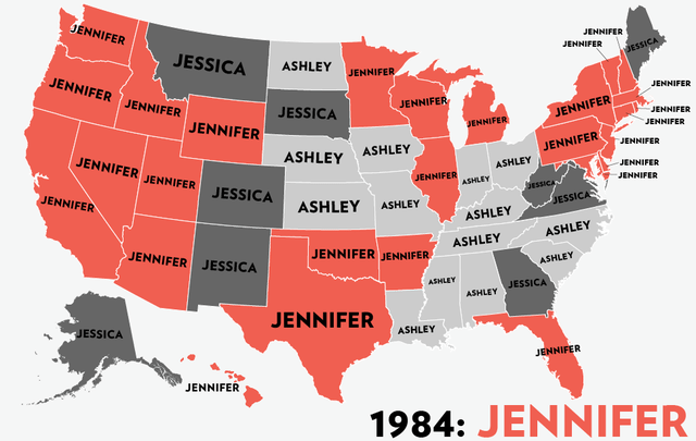 Girl names United States 1984