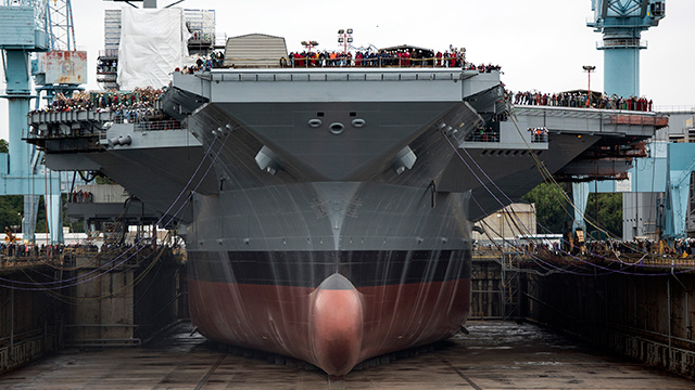 Impressive image shows America's newest aircraft carrier about to float