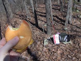 A tasty cheeseburger on the Rocky Face Mountain summit