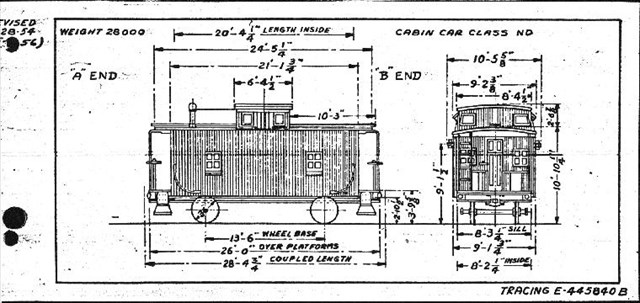 Official Prr Drawing For The Nd Cabin Car