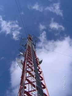 One of the many communication towers now adorning the summit.