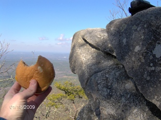 A shot of the disappearing cheeseburger at the rock outcroppings on the summit.