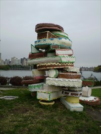 Left The Cake Out In The Rain : Someone, Astoria,, Abstract, Public, Sculptures, Waymarking.com