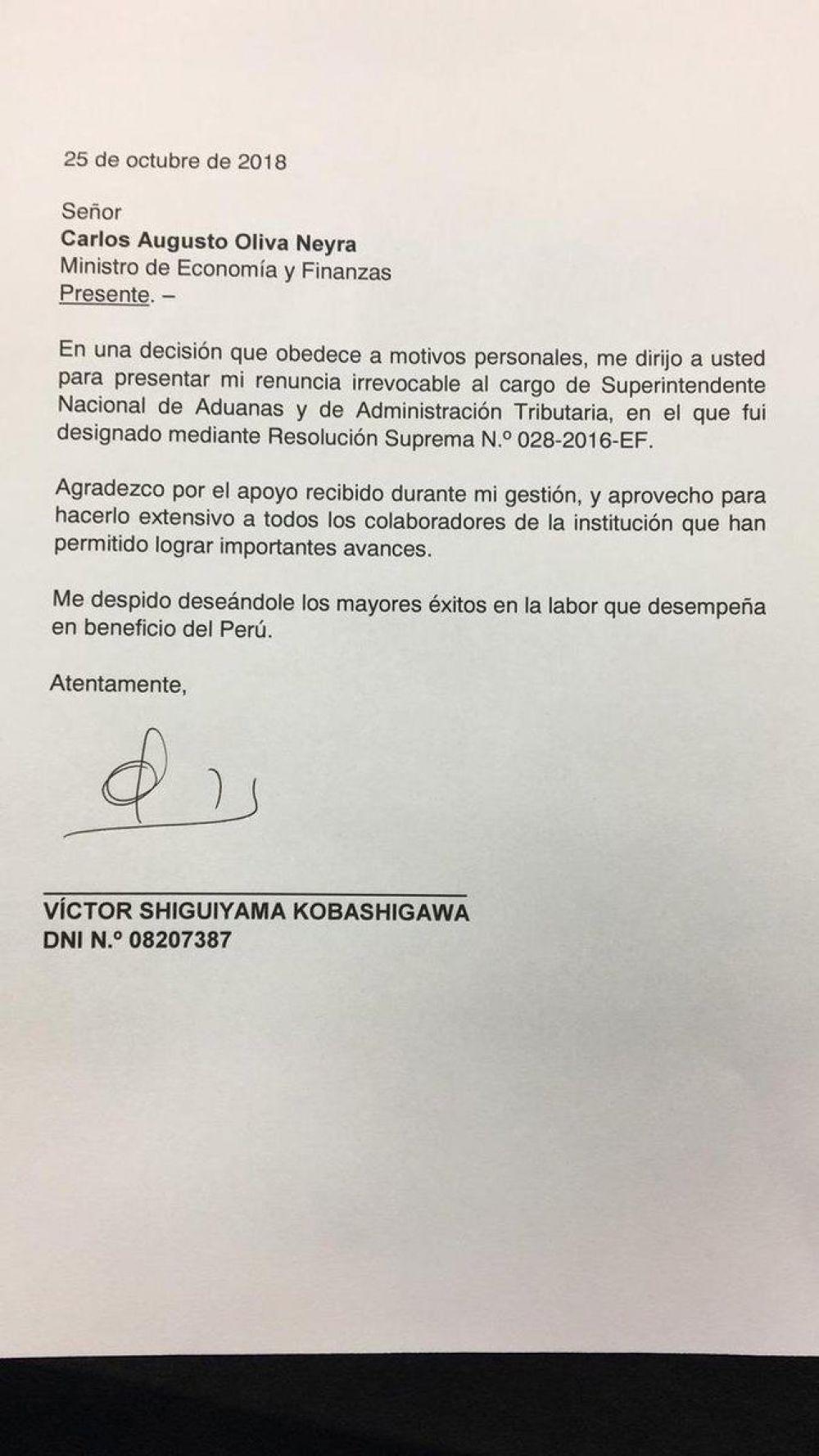 Carta de Víctor Shiguiyama