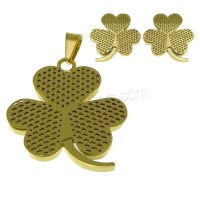 Stainless Steel Jewelry Sets pendant earring Three Leaf ...