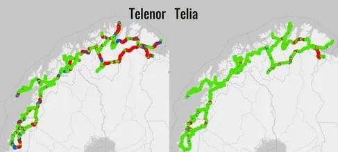 Telia og Telenor dekningskart