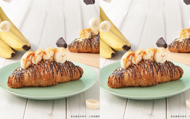 炙燒焦糖香蕉太邪惡!八月堂「焦糖香蕉巧克」明天開賣。「朱古力可頌」買1送1吃起來~