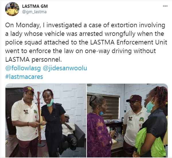 LASTMA Refunds Money to Lady Who Was Extorted By Police in Lagos (Photos) 2