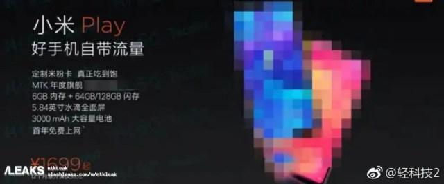 Nova Fuga de informação sugere um chipset MTK desconhecido para o Xiaomi Play 4