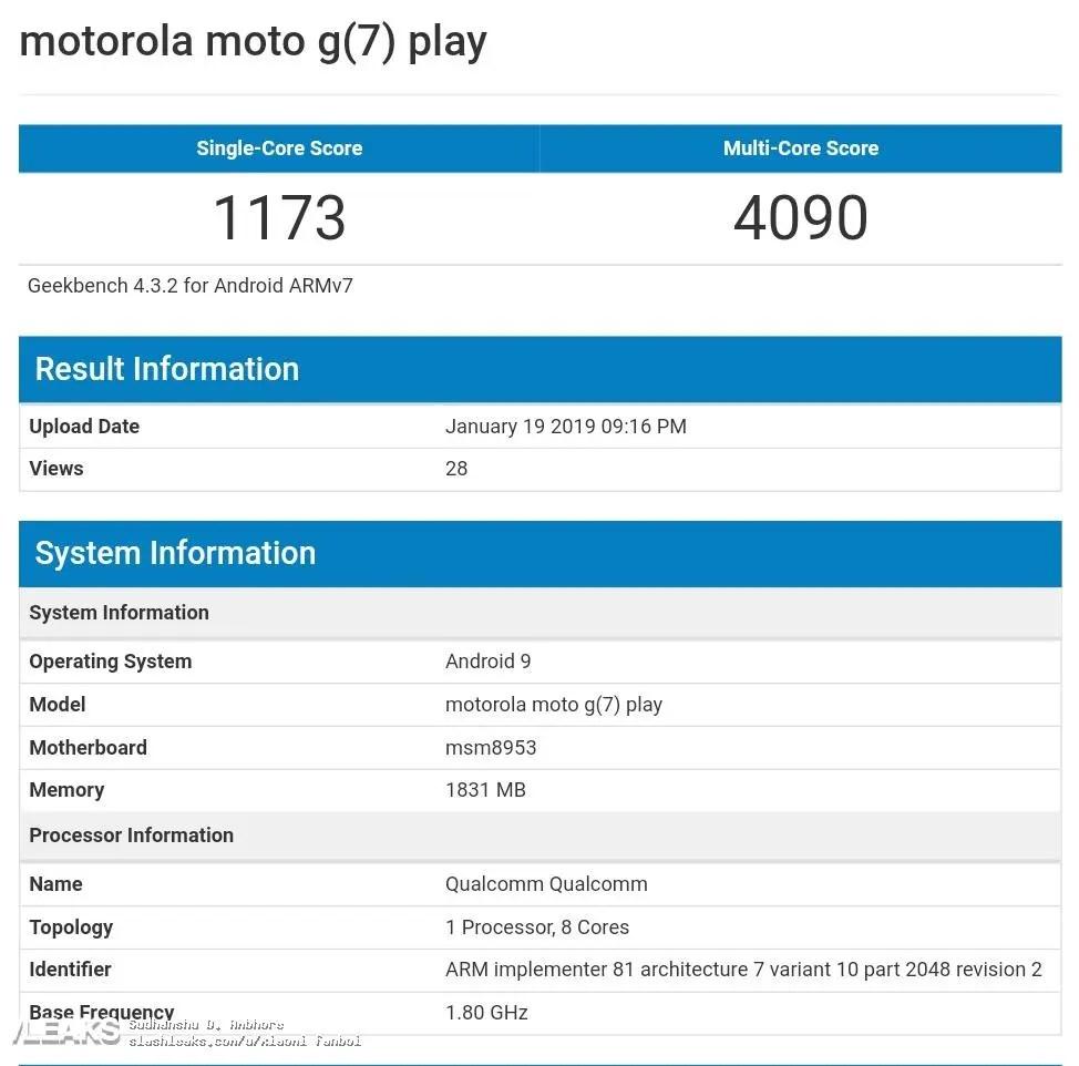 Moto G7 Play em Benchmark com velhinho Snapdragon 625 2