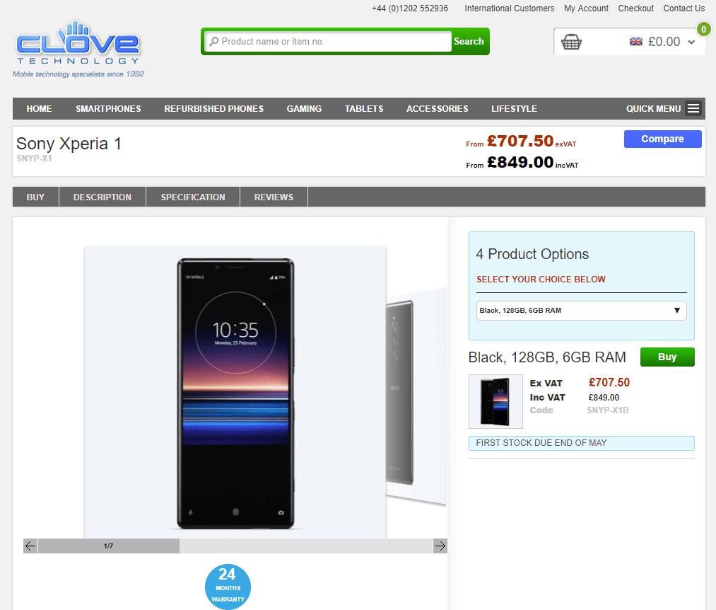 O Sony Xperia 1 vai estrear-se em Taiwan a 26 de abril 2