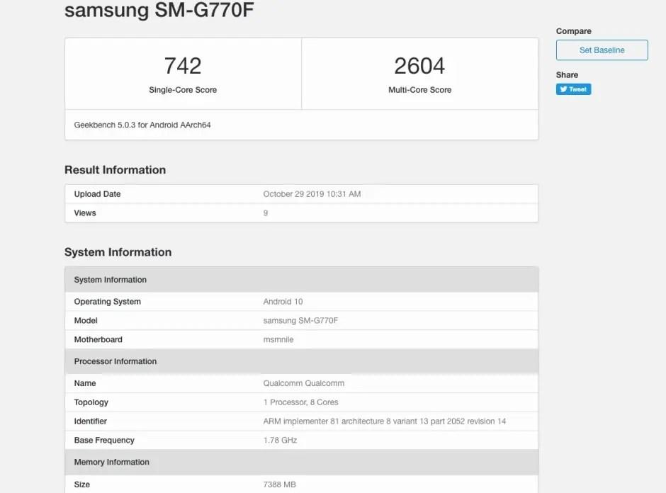Samsung Galaxy S10 Lite passa Benchmarks com especificações interessantes 2