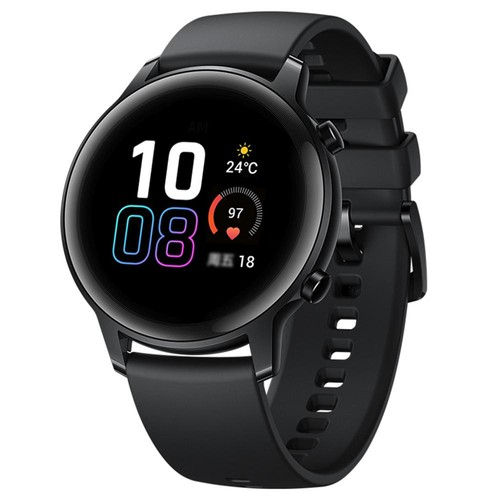 HUAWEI Honor MagicWatch 2 42mm Smart Watch 1.2 Inch Fitness Activity Tracker with Heart Rate and Stress Monitor 7 Days Standby 5ATM Water Resistant Global Version - Agate Black