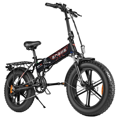 ENGWE EP-2 500W 20 inch Fat Tire Electric Folding Bicycle Mountain Beach Snow Bike for Adults Aluminum Electric Scooter 7 Speed Gear E-Bike with Removable 48V 12.5A Lithium Battery Dual Disc - Black