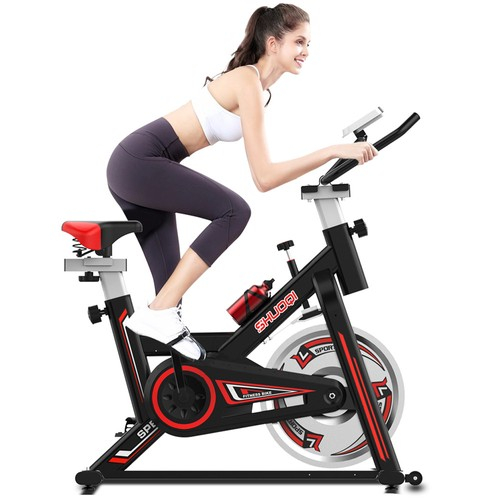 SHUOQIEB001-BBrush Spinning Bike Cycling Exercise Fitness Bike Adjustable Height for Indoor Workout - Black