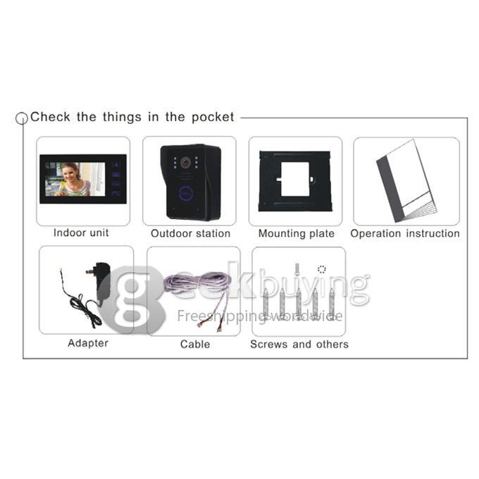 2.4GHz Wireless 2 x 7 TFT Doorbell Door Phone Intercom System