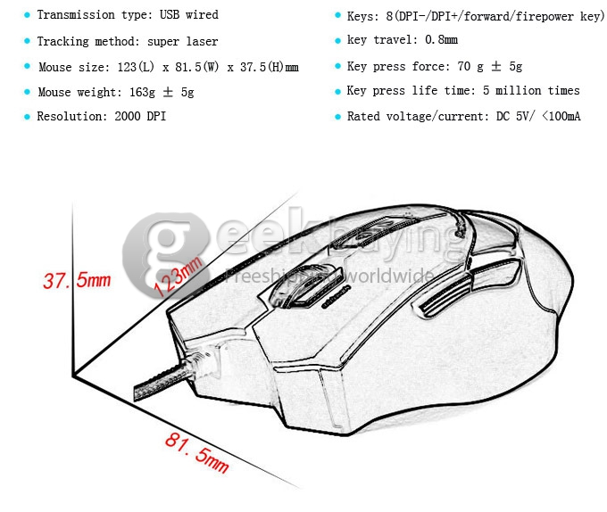 AULA EMPEROR HATE Wired USB 5 Range DPI 7D Gaming Mouse