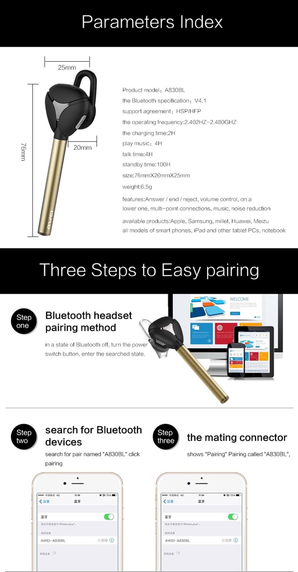 Awei A830BL Wireless Headset Bluetooth 4.1 Car Kit