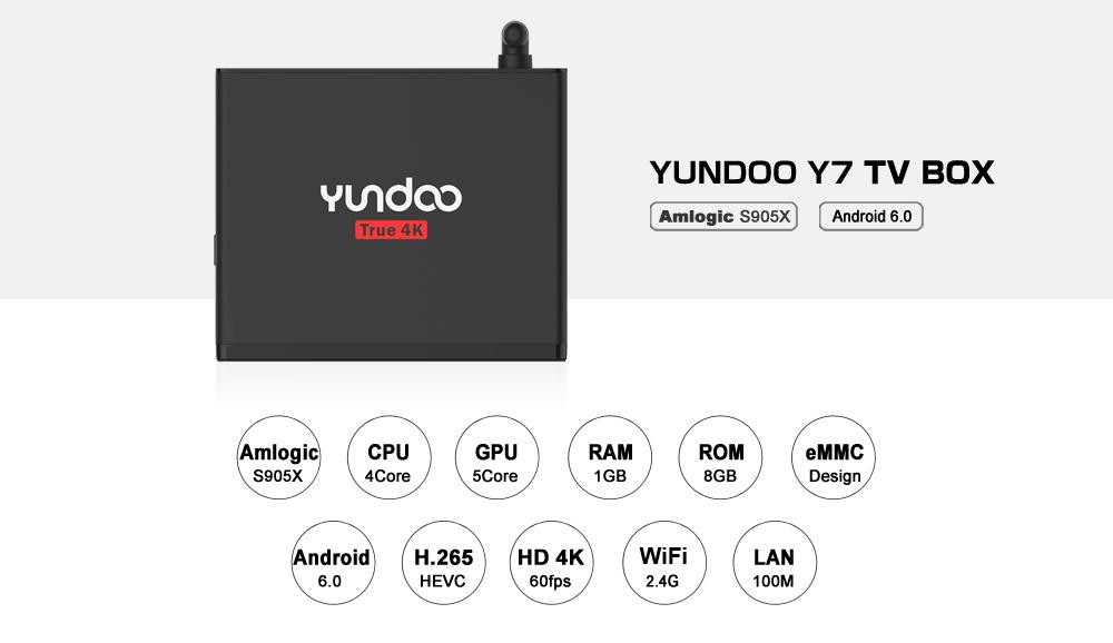 YUNDOO Y7 Android 6.0 Amlogic S905X 1GB DDR4 8GB EMMC TV BOX