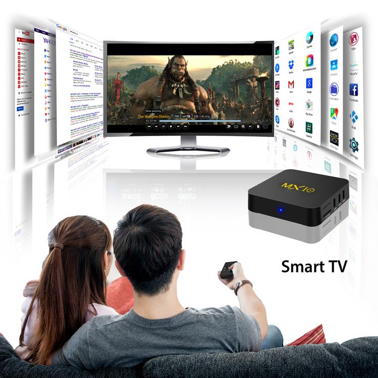 MX10 Android 9.0 RK3328 4GB DDR4 32GB eMMC KODI 18.0 4K HDR TV BOX 802.1.1 b/g/n WIFI LAN VP9 HDMI USB3.0 - Black