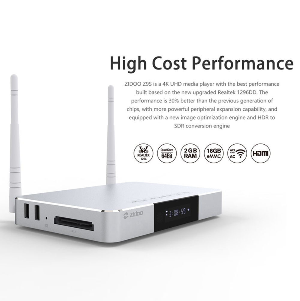 ZIDOO Z9S Realtek RTD1296 Android  2GB/16GB Blue-ray Navigation 4K UH TV Box  Dual Band WIFI Gigabit LAN SATA 3.0 USB 3.0 Bluetooth