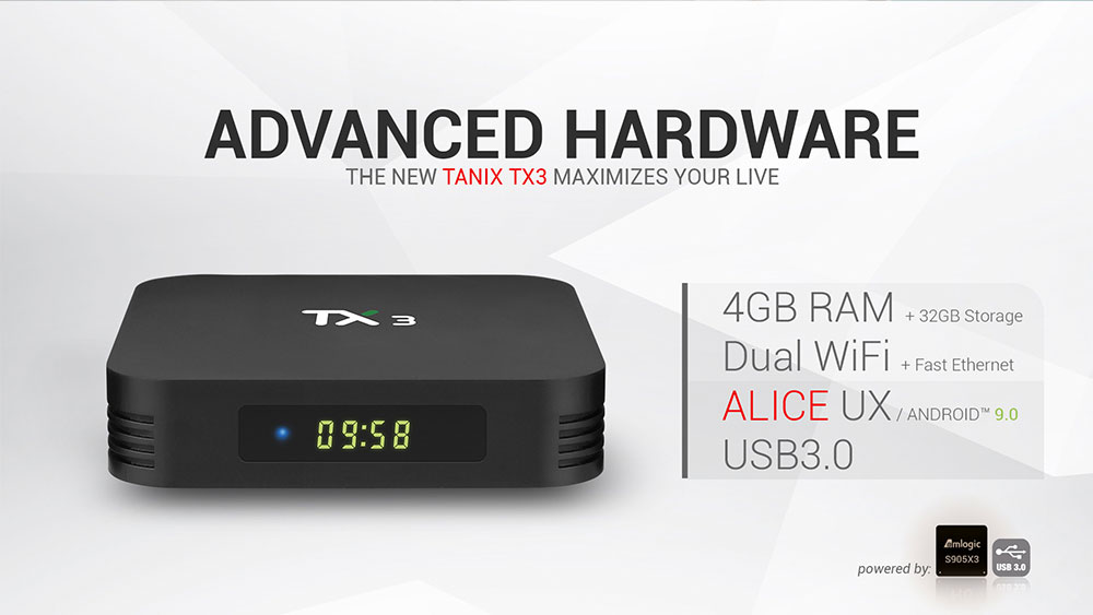 TANIX TX3 Amlogic S905x3 8K Video Decode Android 9.30 TV Box 4GB/64GB Spdif Bluetooth 2.4G+5.8G WiFi LAN USB3.0 Youtube Netflix Google Play